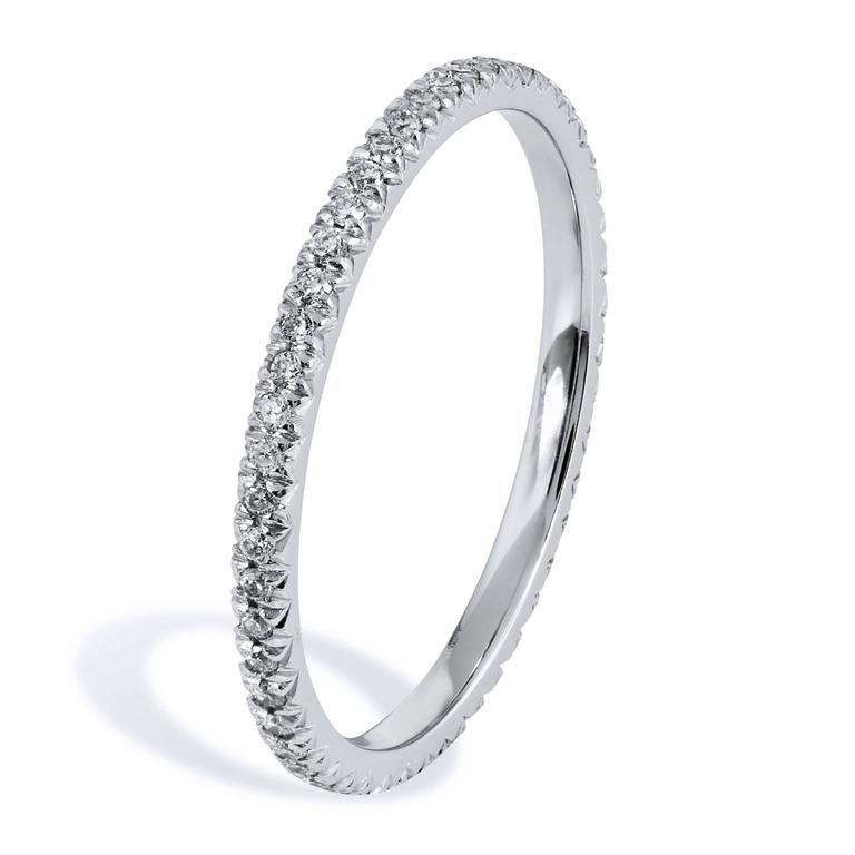 0.22 Carat Diamond 18 Karat Palladium Eternity Band Ring 2