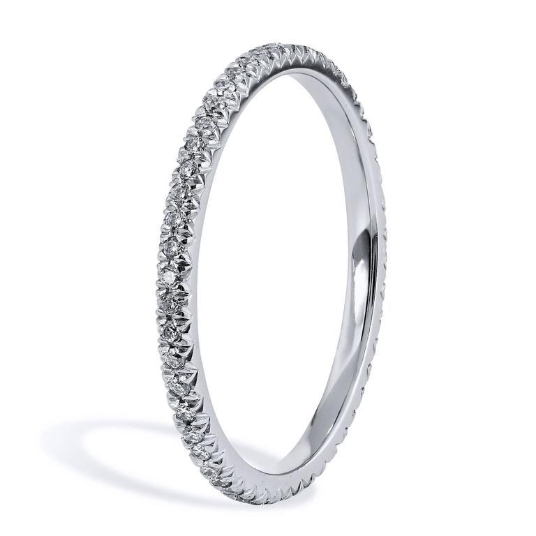 0.22 Carat Diamond 18 Karat Palladium Eternity Band Ring 3
