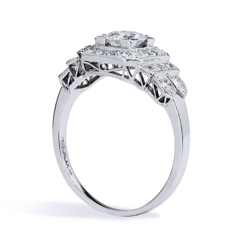 Art Deco Old European Cut Diamond Iridium Platinum Engagement Ring 3