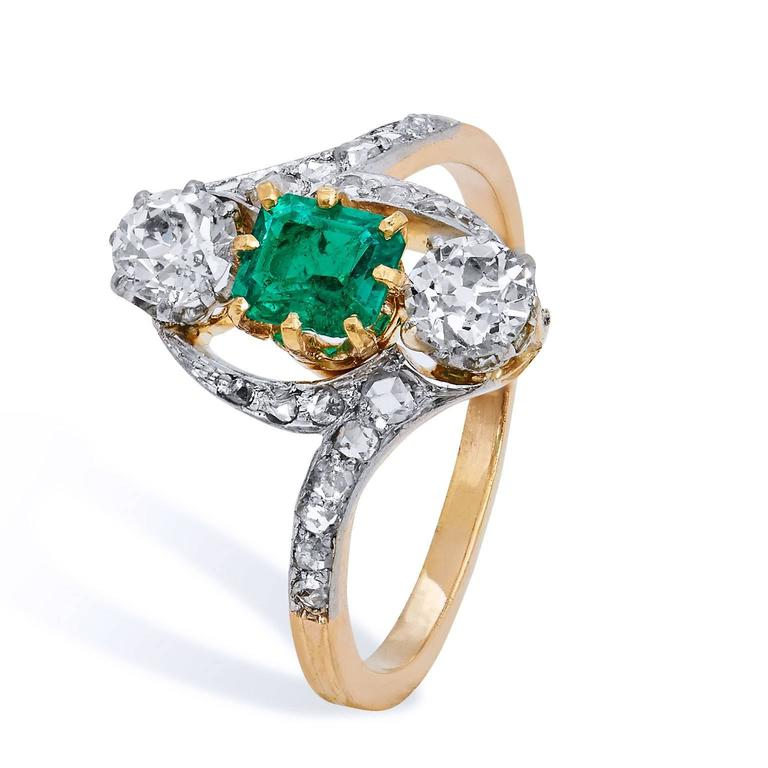 Old Mine Cut Art Deco Estate Emerald Diamond 3 Stone with Pave Gold Platinum Bypass Ring For Sale
