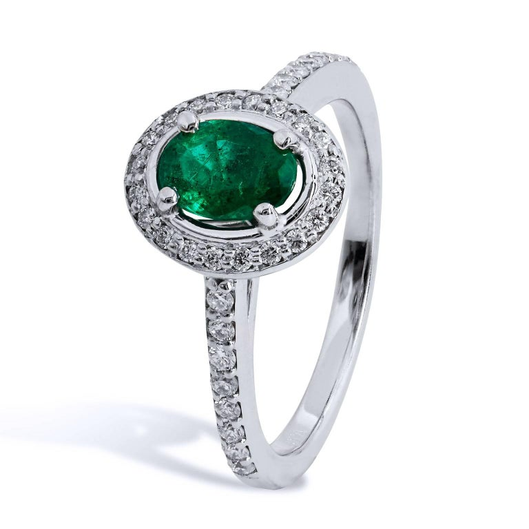 0.64 Carat Zambian Emerald Diamond Palladium Cocktail Ring In Excellent Condition For Sale In Miami, FL