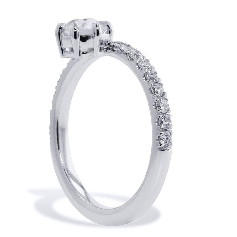 H&H 0.61 Carat Solitaire Antique Cushion Cut Diamond with Pave Band Ring In New Condition For Sale In Miami, FL