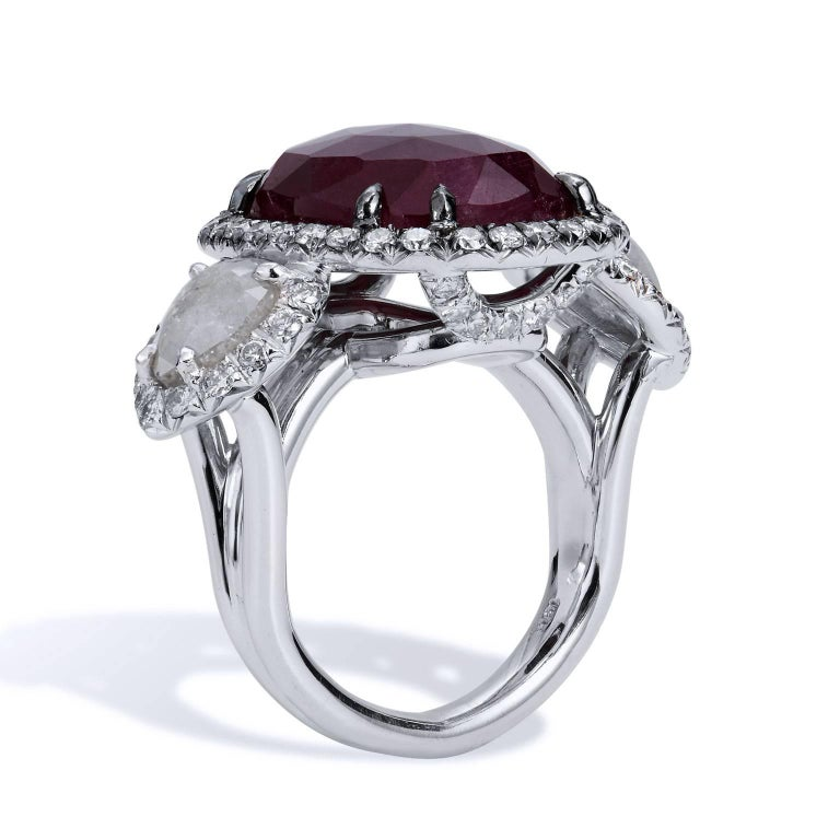 H & H 18.00 Carat Rose Cut Ruby and Diamond Slice Cocktail Ring 2