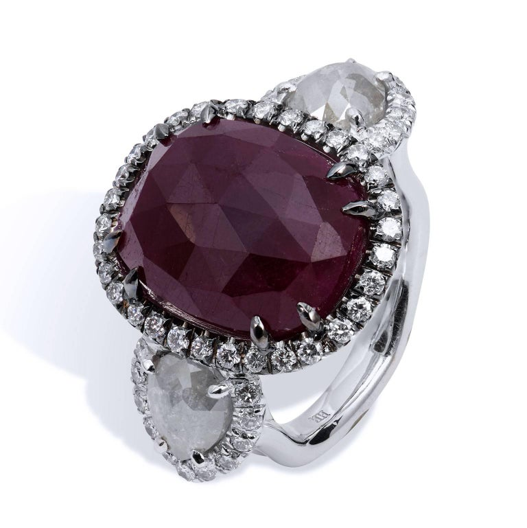 H & H 18.00 Carat Rose Cut Ruby and Diamond Slice Cocktail Ring 3