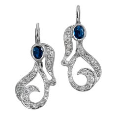 Blue Sapphire and Pave-Set Diamond Paisley-Shaped Lever-Back Earrings