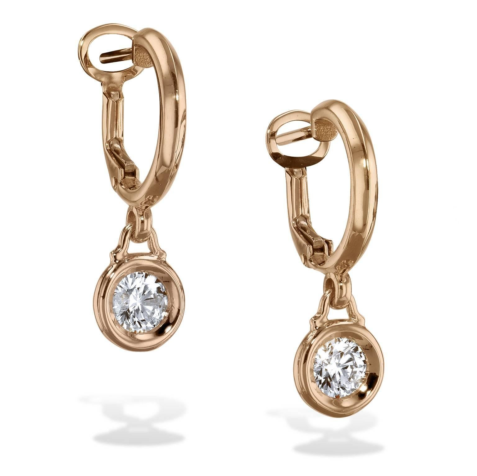 0 80 Carat Diamond Bezel Set Bauble Hoop Earrings For Sale at 1stdibs