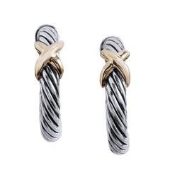 "David Yurman Cable ""X"" Hoop Earrings"