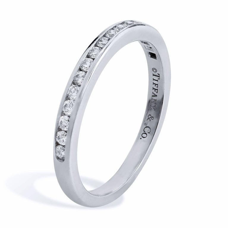 Estate Tiffany & Co. 0.17 Carat Diamond and Platinum Eternity Band Ring Size 5.5 In Excellent Condition For Sale In Miami, FL