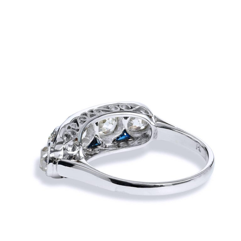 2.15 Carat Old Mine Cut Diamond Platinum Band Ring In Excellent Condition For Sale In Miami, FL