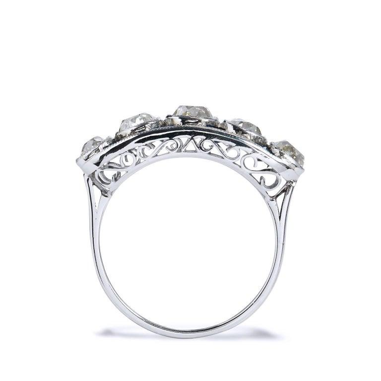 Women's 2.15 Carat Old Mine Cut Diamond Platinum Band Ring For Sale