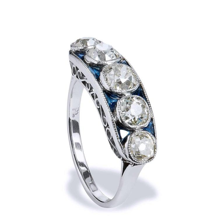 2.15 Carat Old Mine Cut Diamond Platinum Band Ring For Sale 1