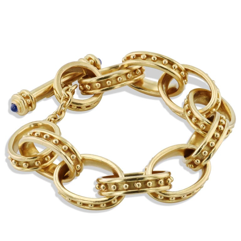 Elizabeth Locke Blue Sapphire Yellow Gold Toggle Bracelet In Excellent Condition For Sale In Miami, FL