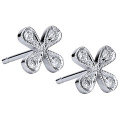 H & H Four-Petal 0.15 Carat Diamond Stud Earrings