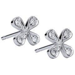 H & H Four-Petal 0.15 Carat Diamond Stud Earrings