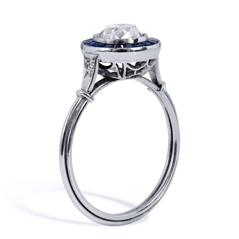 Art Deco Style New 1.16 Carat Old European Cut Diamond Sapphire Platinum Ring  This ring is brand new.  It has been created to look like a elegant ring from the Art Deco Era.  The Diamond is vintage.  It is an Old European Cut.     This stunning
