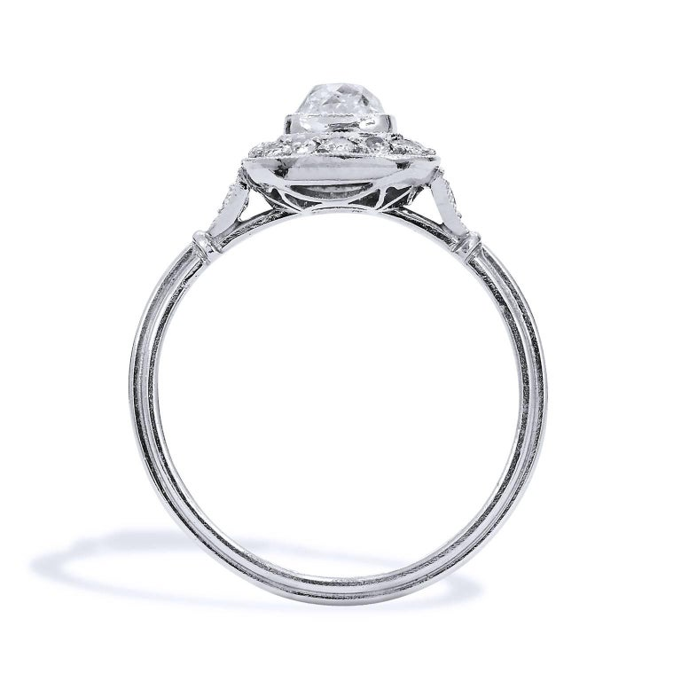 Women's Art Deco Style Old Mine Cut 0.73 Carat Diamond Platinum Halo Engagement Ring For Sale