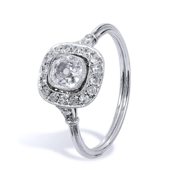 Art Deco Style Old Mine Cut 0.73 Carat Diamond Platinum Halo Engagement Ring For Sale 1