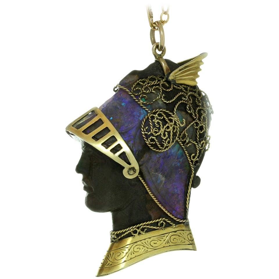 Wilhelm Schmidt Art Nouveau Boulder Opal Iron Gold Roman Soldier Pendant 1