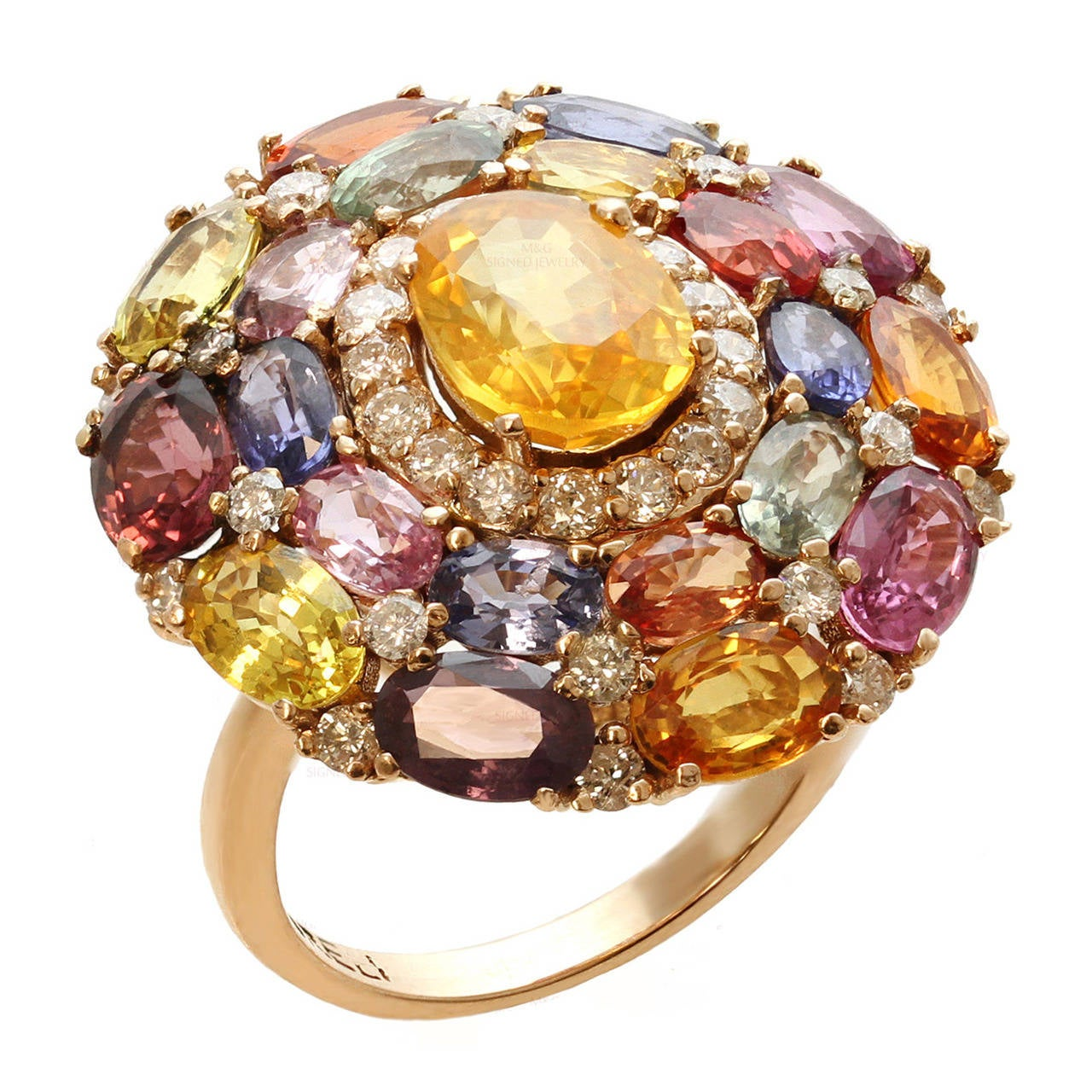 Multicolor Natural Sapphire Diamond Gold Ring