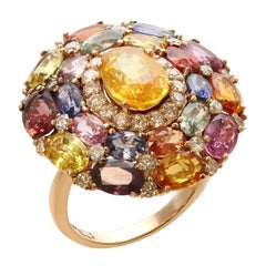 Multi-Color Natural Sapphire Diamond Gold Ring
