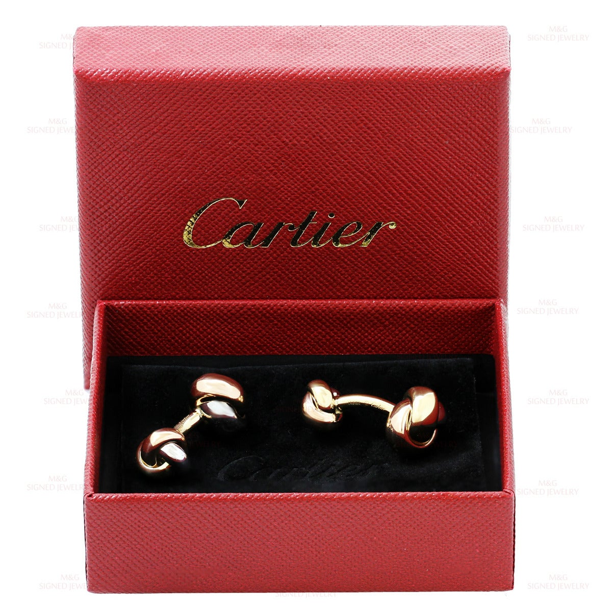 These modern Cartier cufflinks from the classic Trinity collection feature a chic knot design made in solid 18k yellow, white, and rose gold. Measurements: 0.38