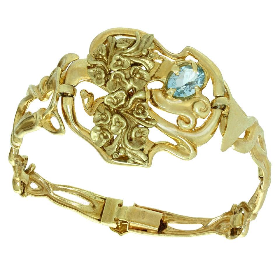 Blue Topaz Gold Floral Bracelet