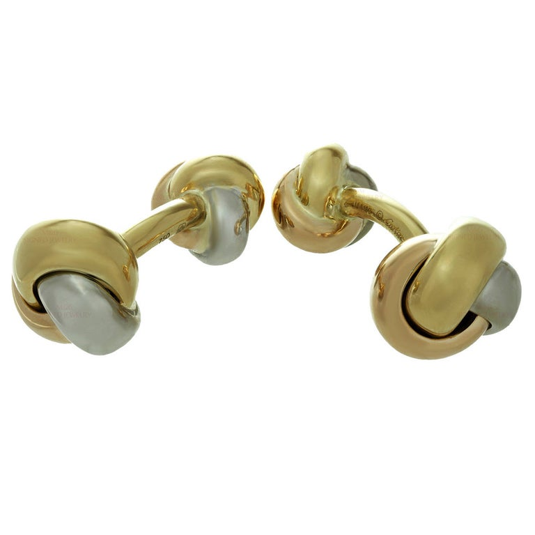 Cartier Trinity Tri-Gold Classic Knot Cufflinks For Sale