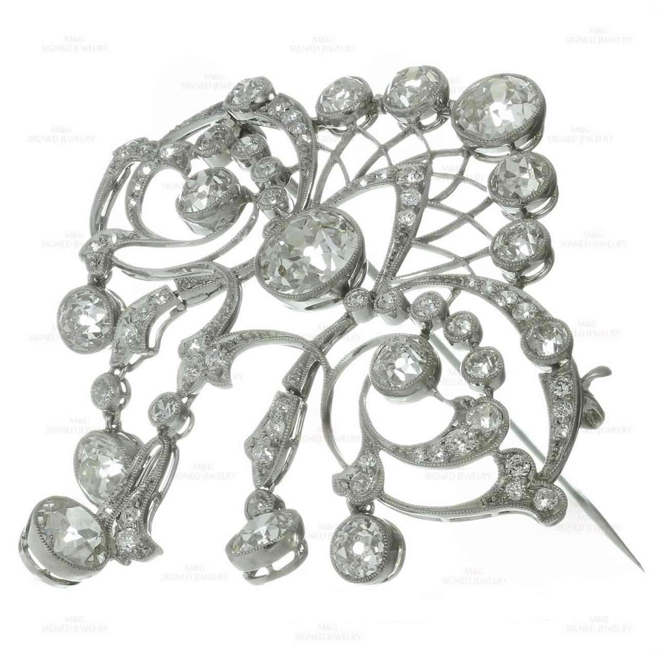 22c4077ee Belle Époque Magnificent Edwardian Diamond Platinum Filigree Brooch For Sale