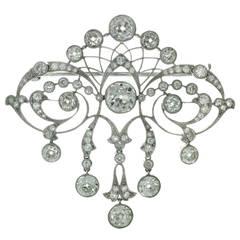 Magnificent Edwardian Diamond Platinum Filigree Brooch