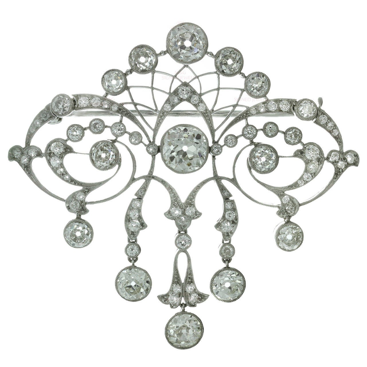 Magnificent Edwardian Diamond Platinum Filigree Brooch