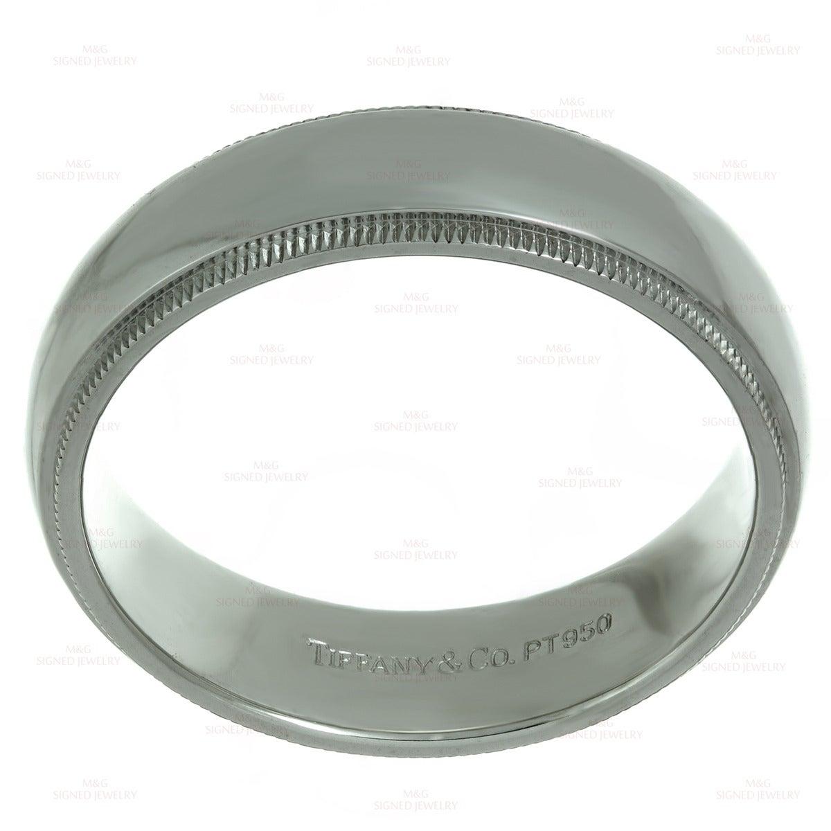 Platinum Double Milgrain 6mm Wide Flat Wedding Band Ring: TIFFANY And CO. Classic Double Milgrain Platinum Wedding