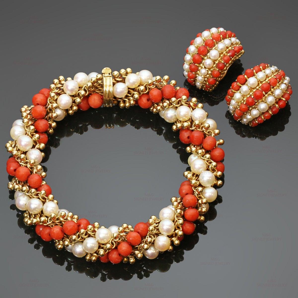 1960s Van Cleef And Arpels Twist Red Coral Cultured Pearl