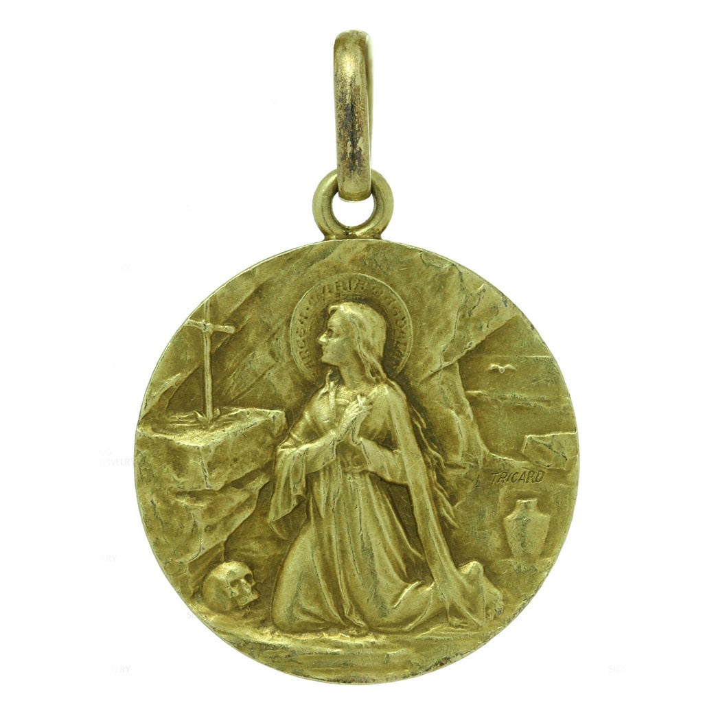 1900s L Tricard Antique Mary Magdalene Yellow Gold