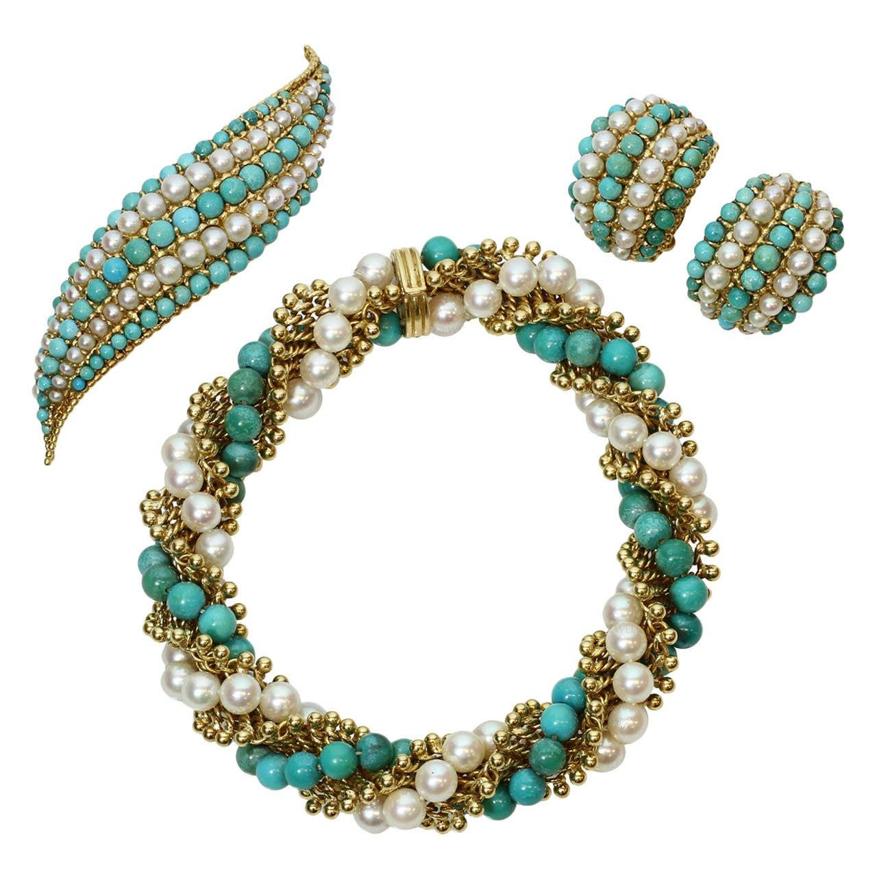 1960s Van Cleef Arpels Twist Turquoise Pearl Bracelet Earrings Brooch Set For