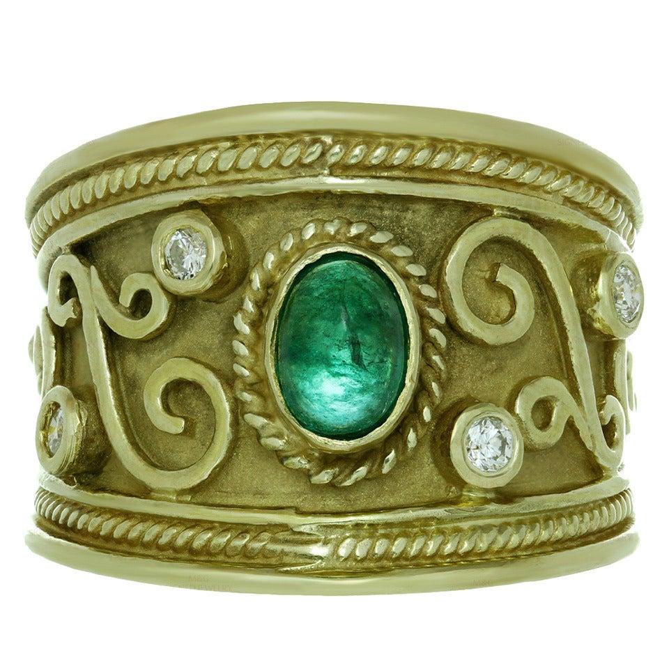 1980s Byzantine Emerald Diamond Yellow Gold Wide Band Ring