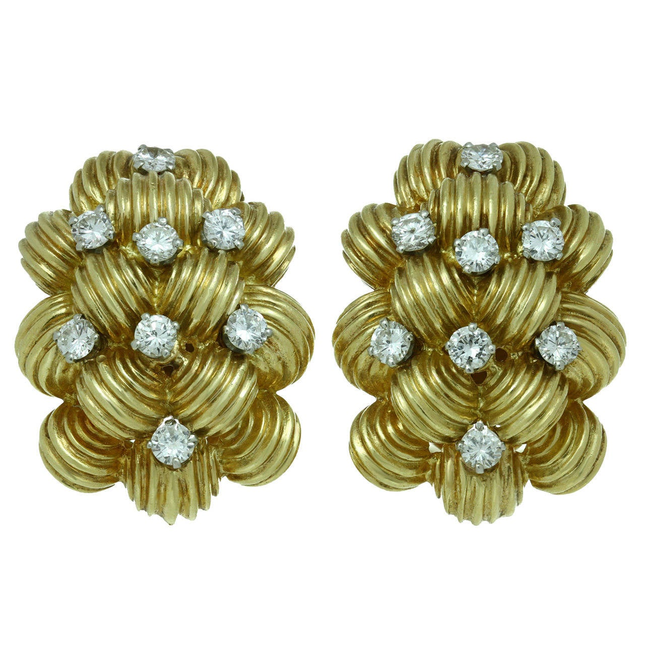 1960s Van Cleef & Arpels Diamond Gold Clip-on Earrings