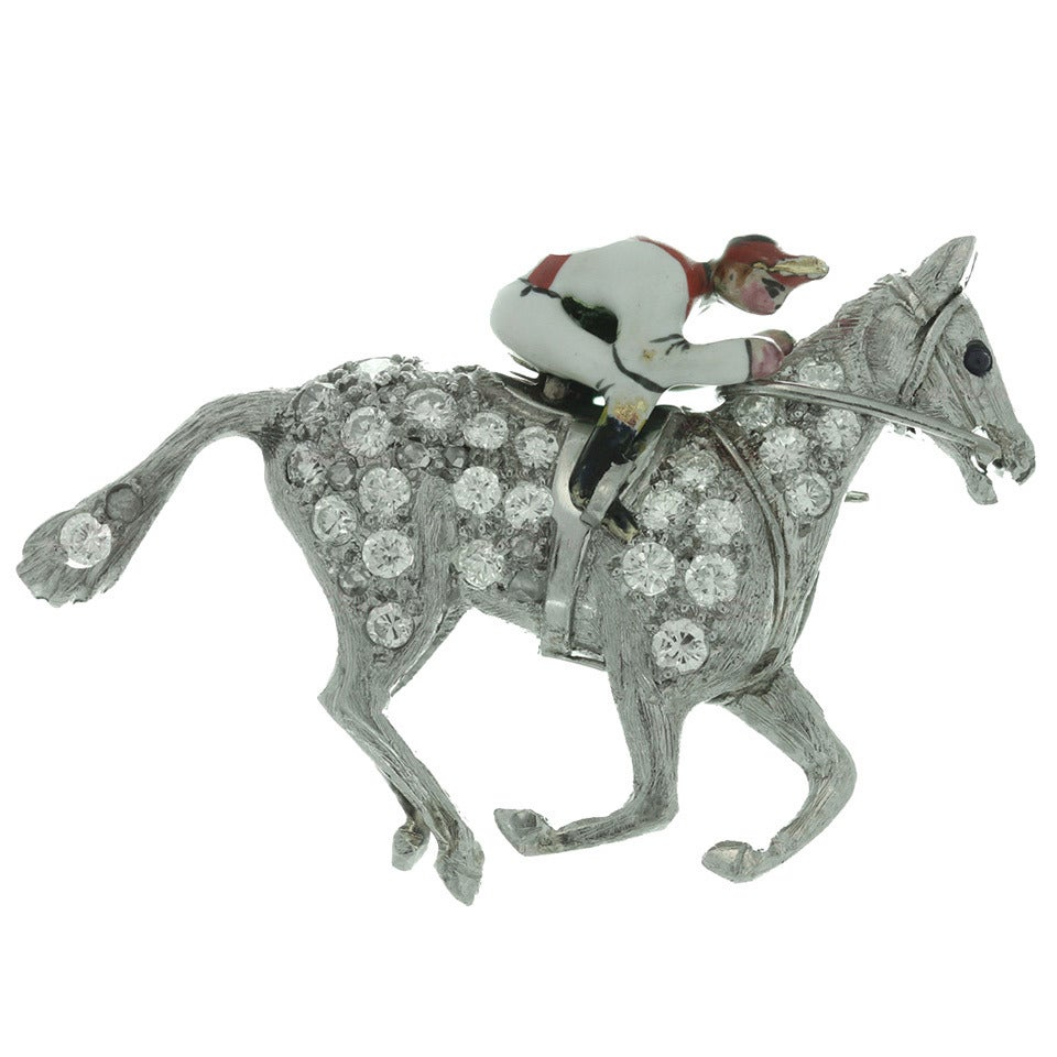 1930s Cartier Rare Art Deco Diamond Enamel Platinum Horse and Jockey Brooch 1