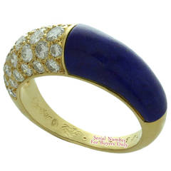 1960s Cartier Lapis Lazuli Diamond Yellow Gold Ring