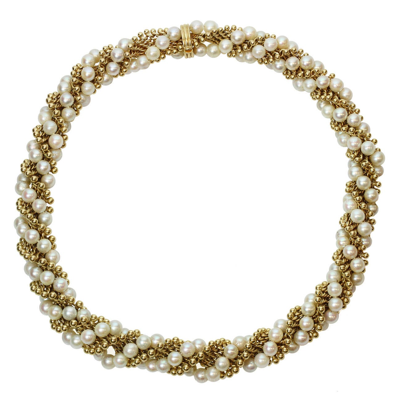 1960s VAN CLEEF & ARPELS Twist Cultured Pearl Yellow Gold Necklace