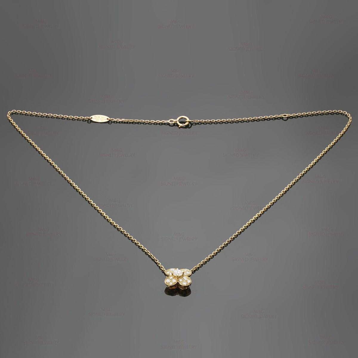 Clover Necklace Van Cleef: Van Cleef And Arpels Alhambra Diamond Gold Clover Necklace