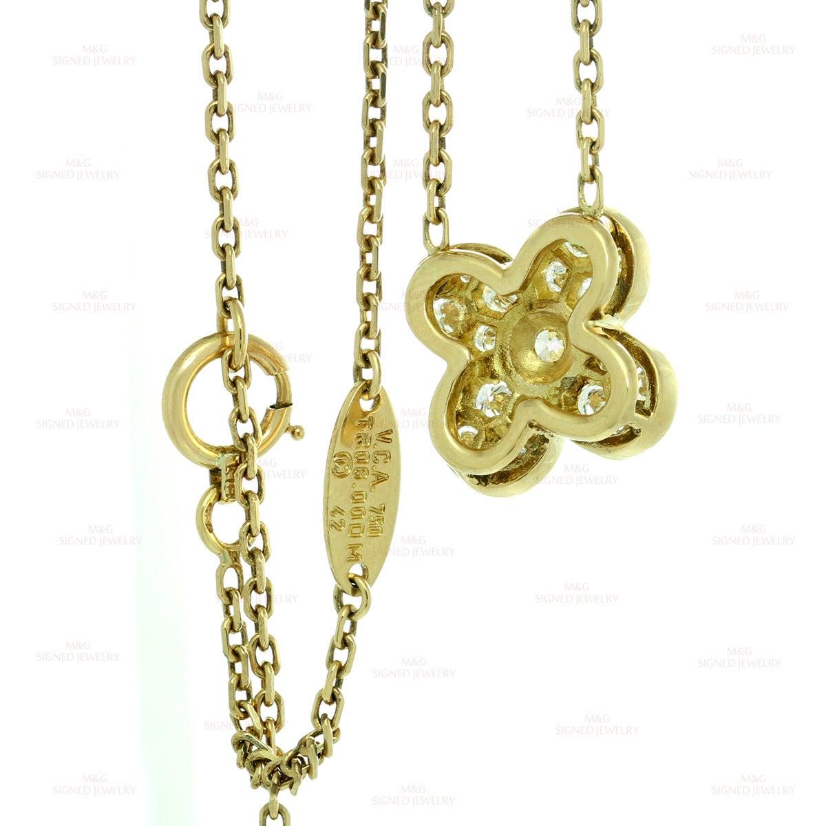Clover Necklace Van Cleef: Van Cleef & Arpels Alhambra Diamond Gold Clover Necklace