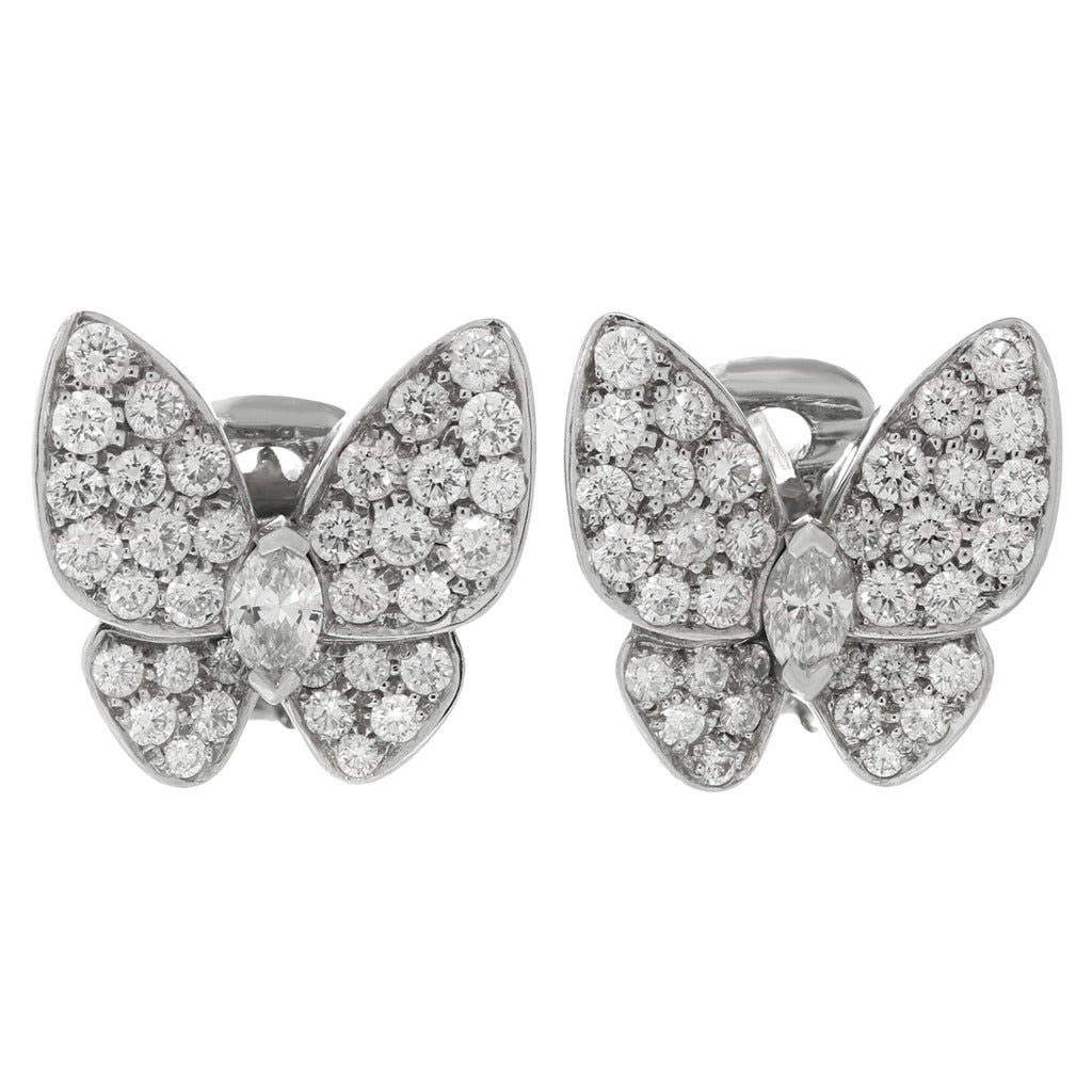 Van Cleef & Arpels Diamond Gold Butterfly Earrings