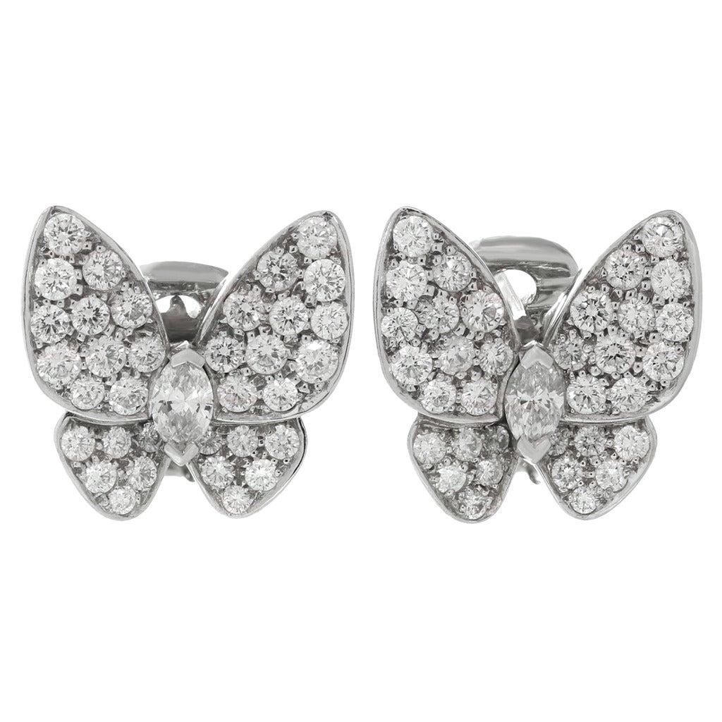 Van Cleef & Arpels Diamond Gold Butterfly Earrings