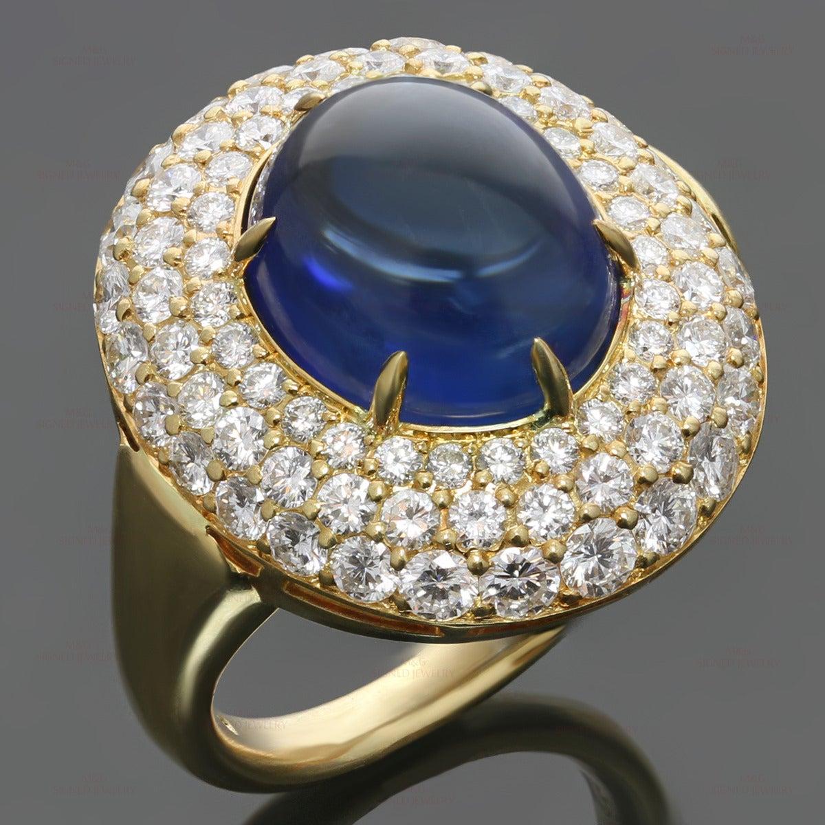 1980s harry winston blue sapphire diamond gold dome ring