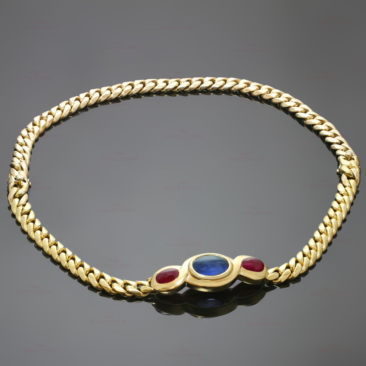1980s Bulgari Classic Sapphire Ruby Gold Link Interchangeable Bracelet Necklace 2