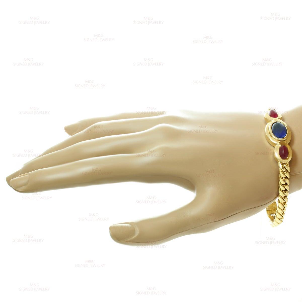 1980s Bulgari Classic Sapphire Ruby Gold Link Interchangeable Bracelet Necklace 4