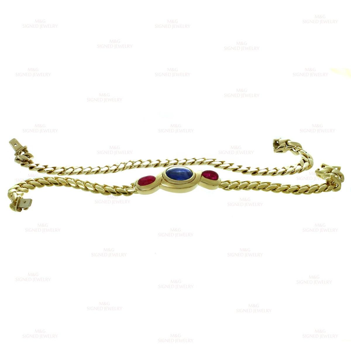 1980s Bulgari Classic Sapphire Ruby Gold Link Interchangeable Bracelet Necklace 6