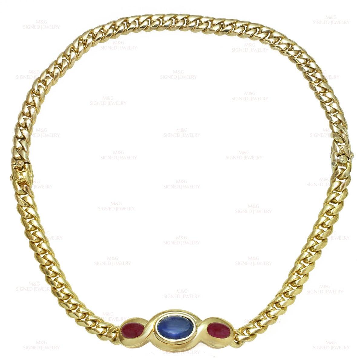 1980s Bulgari Classic Sapphire Ruby Gold Link Interchangeable Bracelet Necklace 7