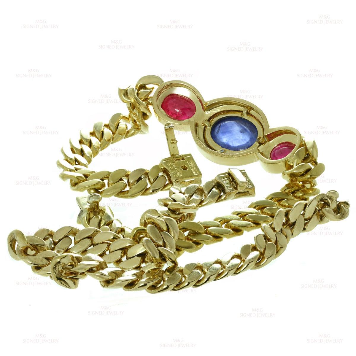 1980s Bulgari Classic Sapphire Ruby Gold Link Interchangeable Bracelet Necklace 8