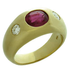 1970s Natural Ruby Diamond Gold Gypsy Ring